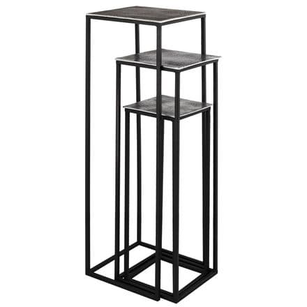 Farrah Collection Silver set of Three large Display Tables